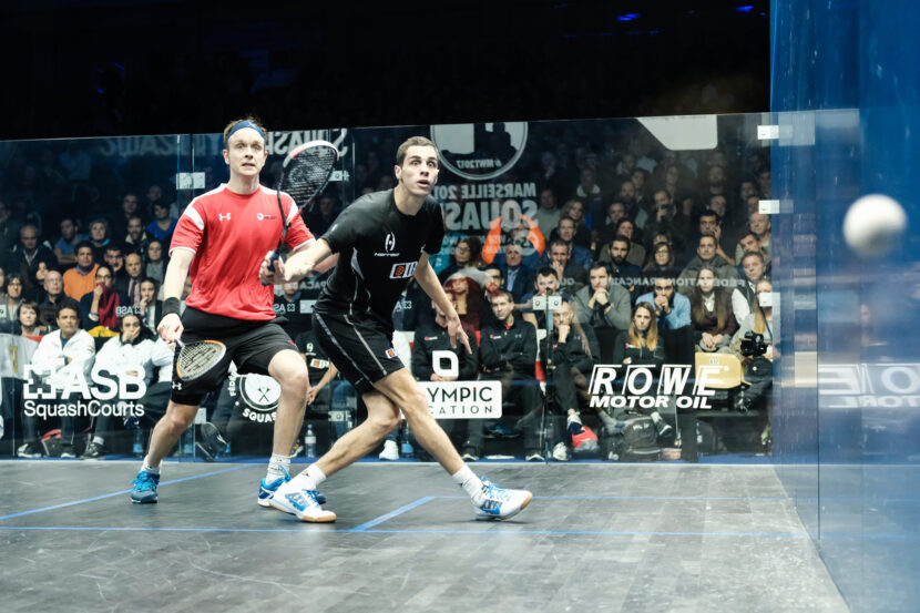 Ali Farag of Egypt takes on James Willstrop of England during the 2017 WSF Men's World Team Squash Championship final